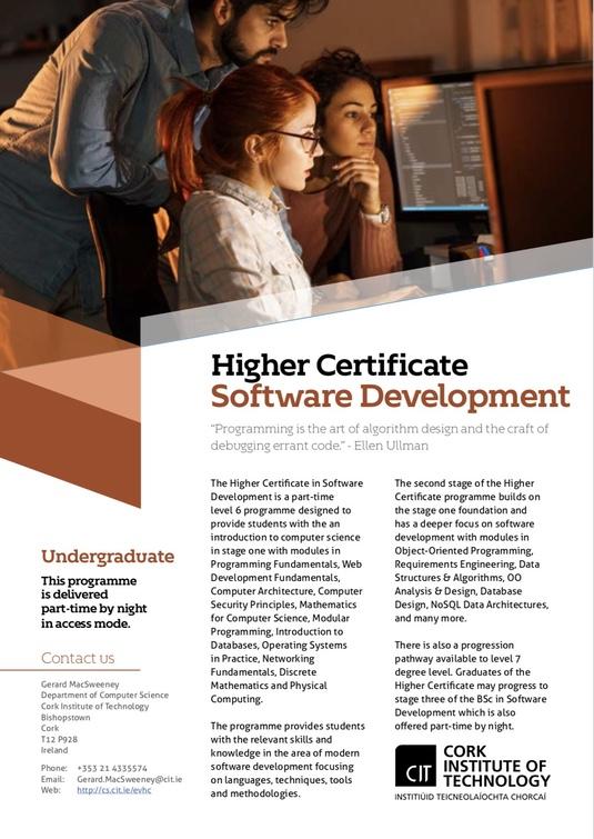 Higher Certificate in Software Development, Department of